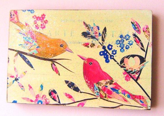 Vintage Birds wood block print