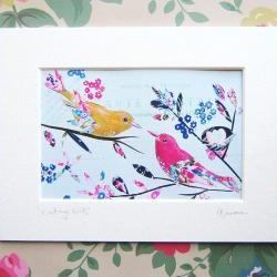 small mounted print Vintage Birds