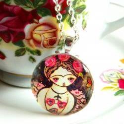 Frida Mermaid art pendant